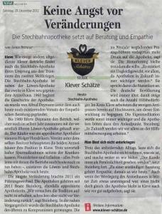 NRZ 29 Dezember 2012 Klever Schätze Serie: Stechbahn Apotheke